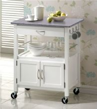 York White Painted Granite Top Kitchen Trolley 1/2 Price Deal